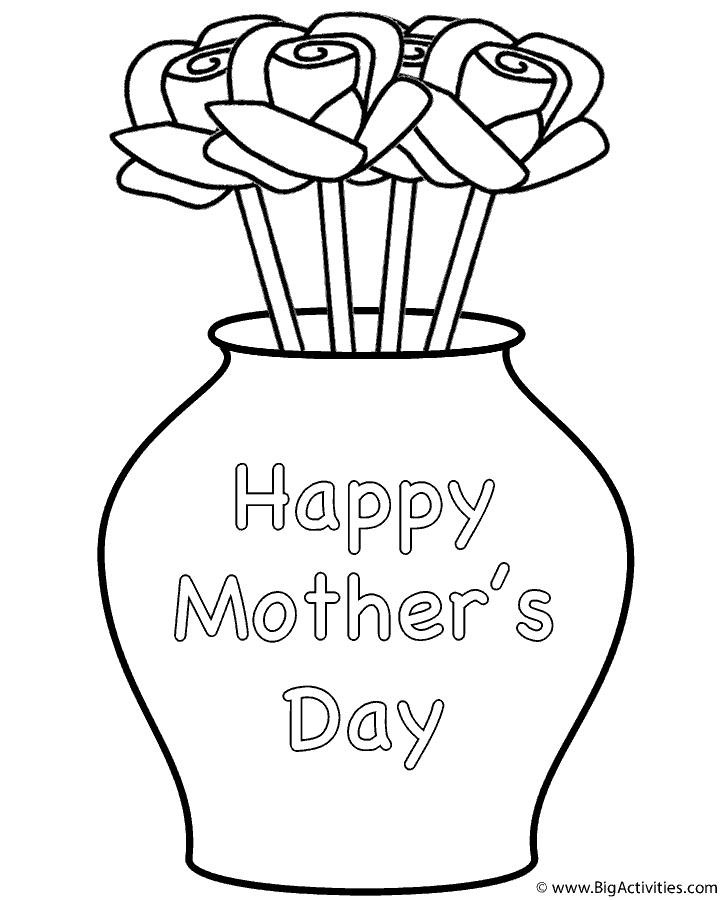 Roses in Vase with theme Coloring Page Mothers Day