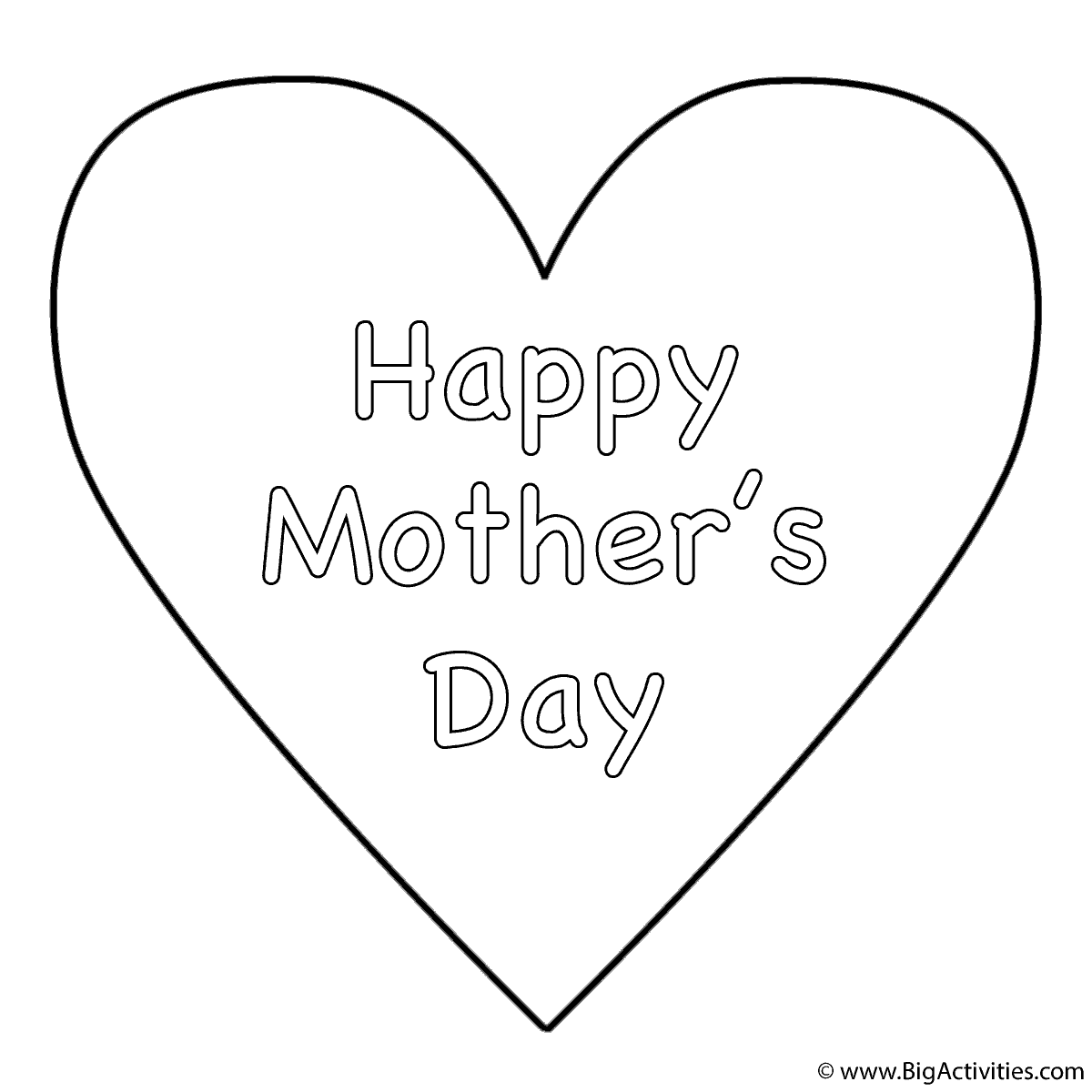 heart with theme coloring page mother u0027s day