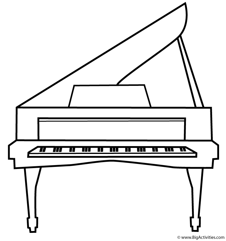 Piano Coloring Page Musical Instruments