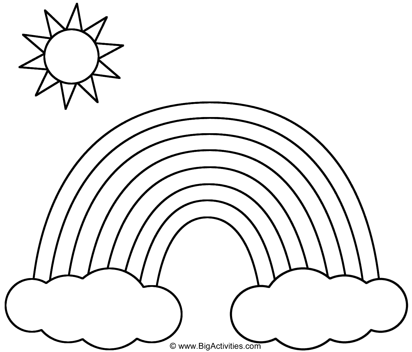 coloring pages rainbow Rainbow with Clouds and Sun   Coloring Page (Nature) coloring pages rainbow