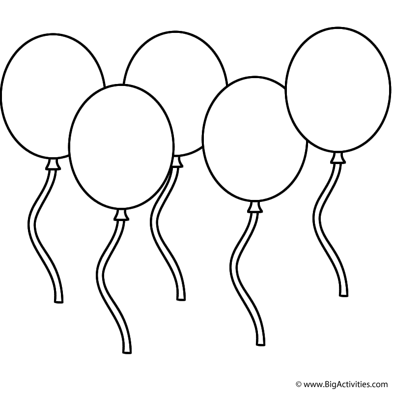 Five Balloons - Coloring Page (New Years)