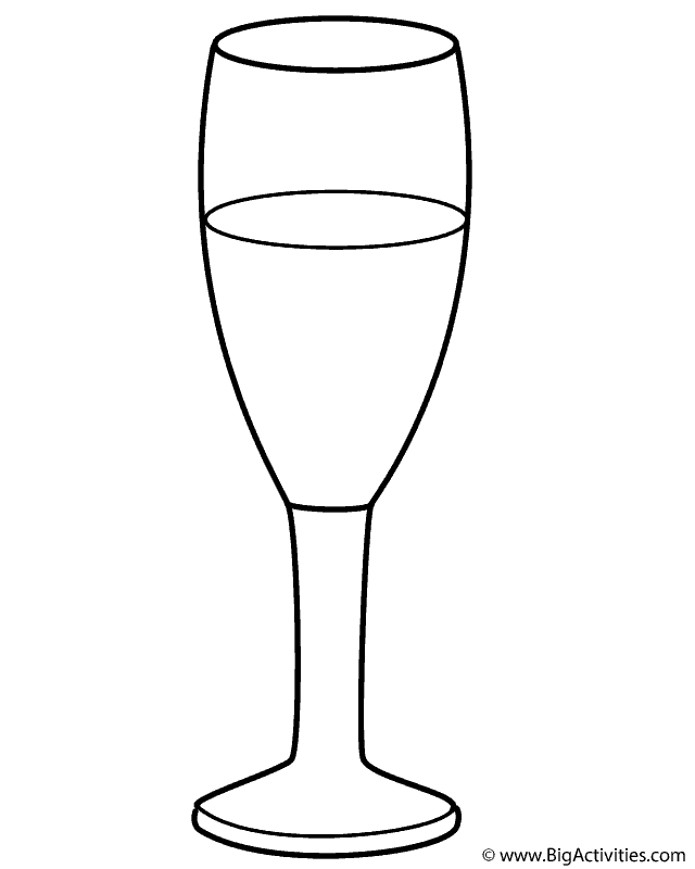 Champagne Glass - Coloring Page (New Years)