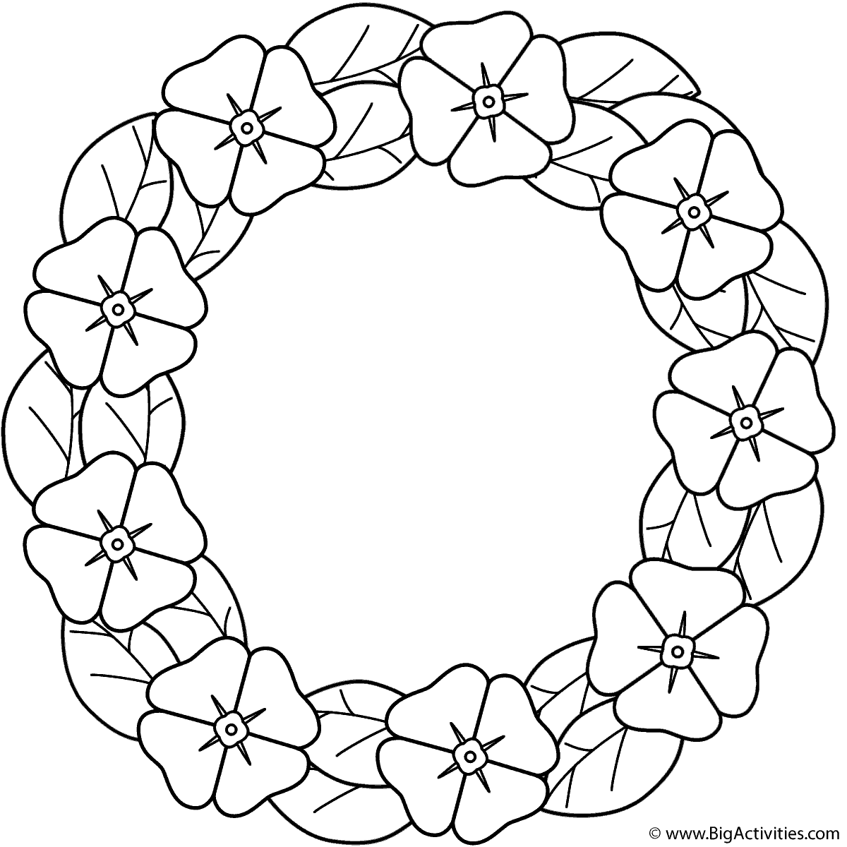 Poppy wreath - Coloring Page (Plants)