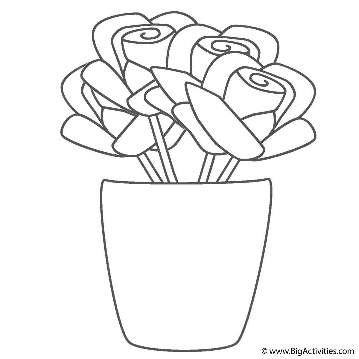 roses in vase coloring page plants
