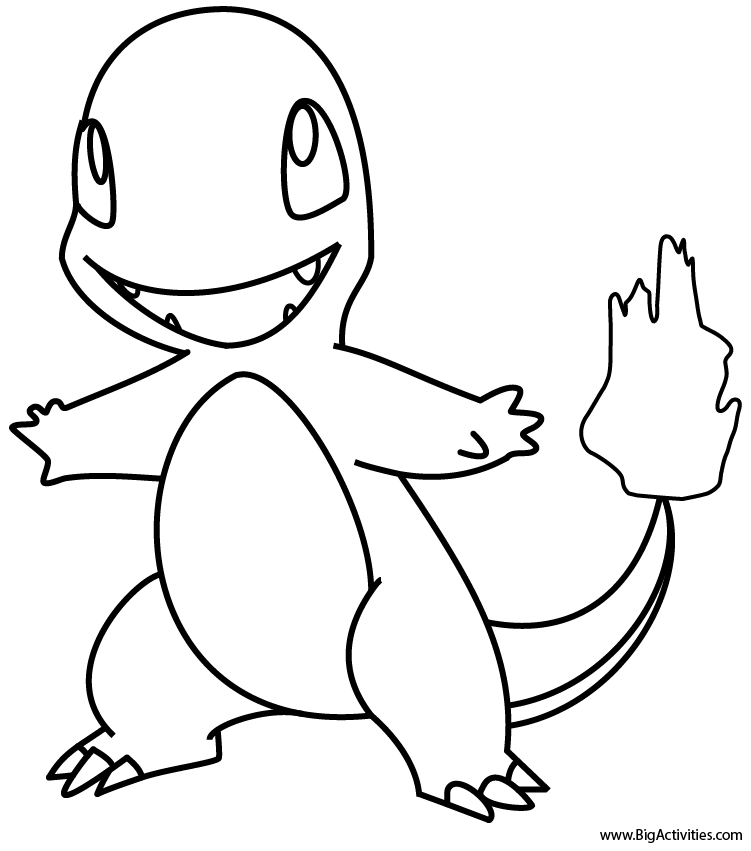 charmander - coloring page (pokemon) - Pokemon Charmander Coloring Pages