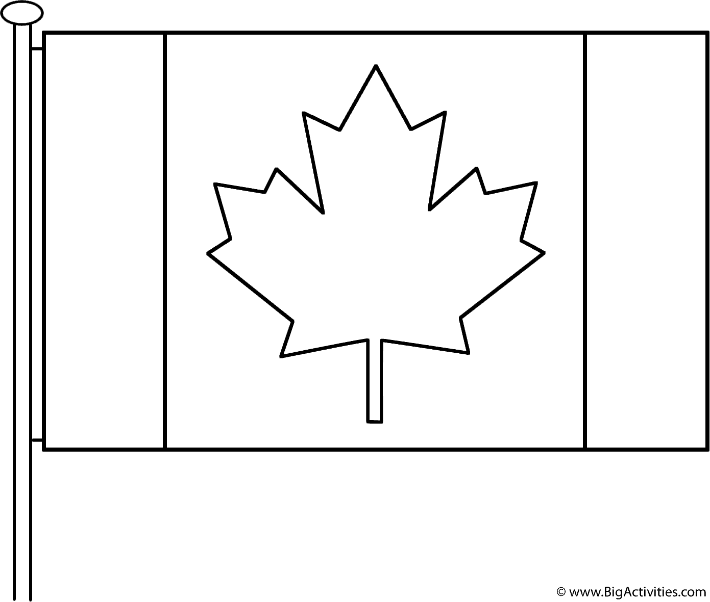 canadian flag with pole coloring page remembrance day