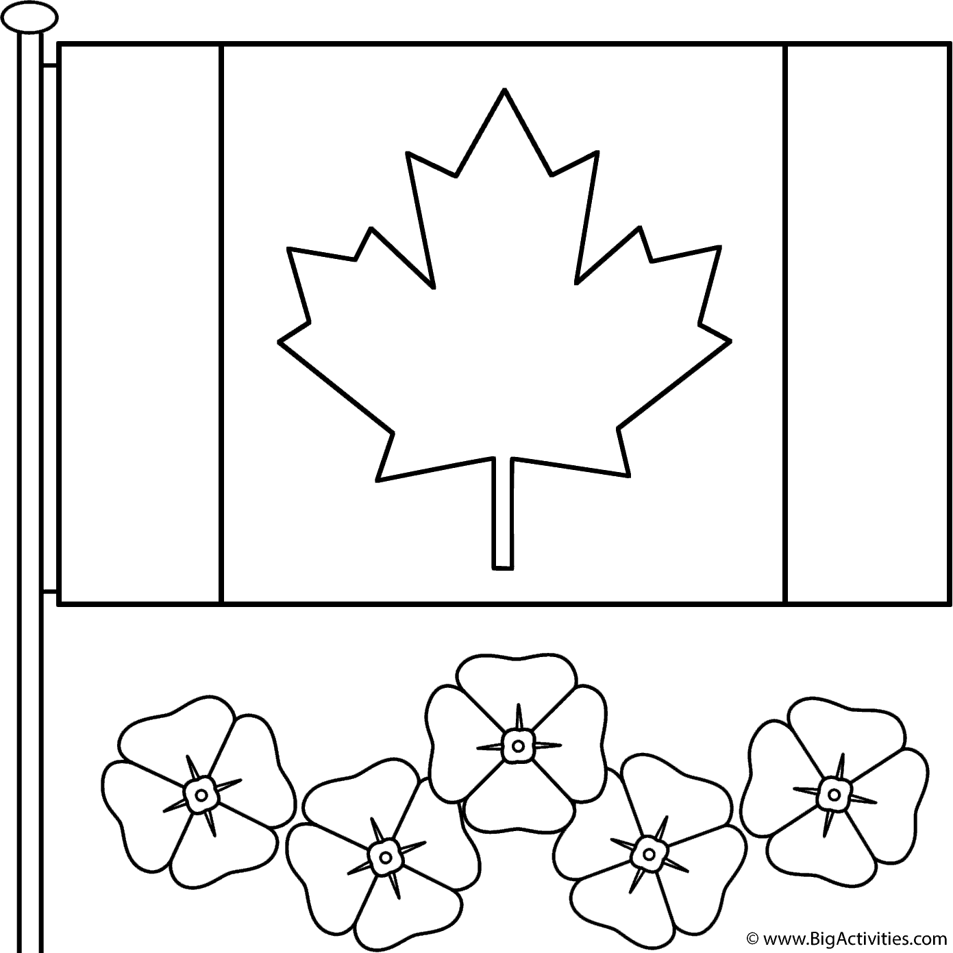 canadian flag coloring page - canadian flag with poppies coloring page remembrance day
