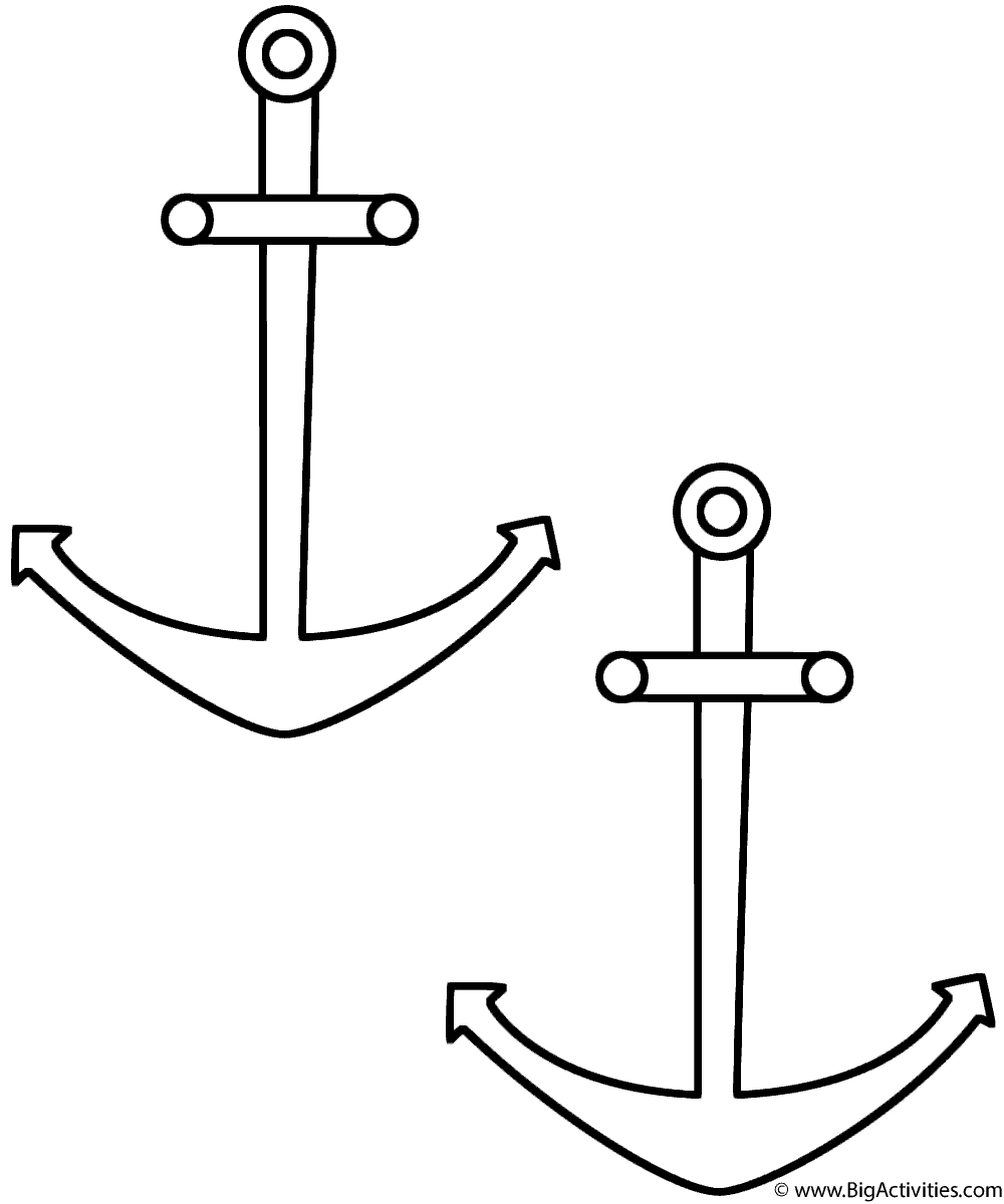 anchors coloring page seamarine - Anchor Coloring Page