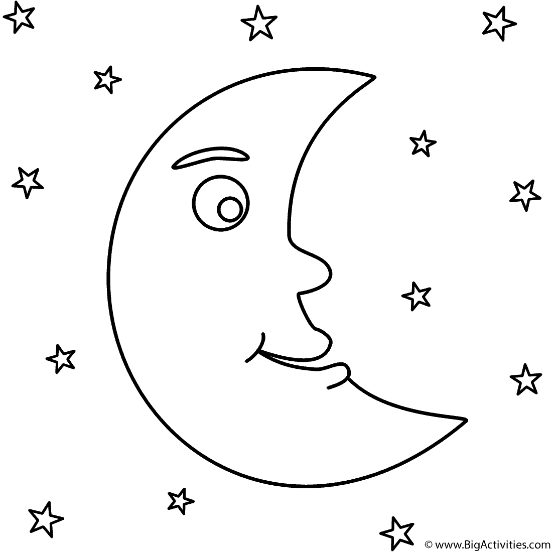 Crescent Moon with Stars Coloring Page Space