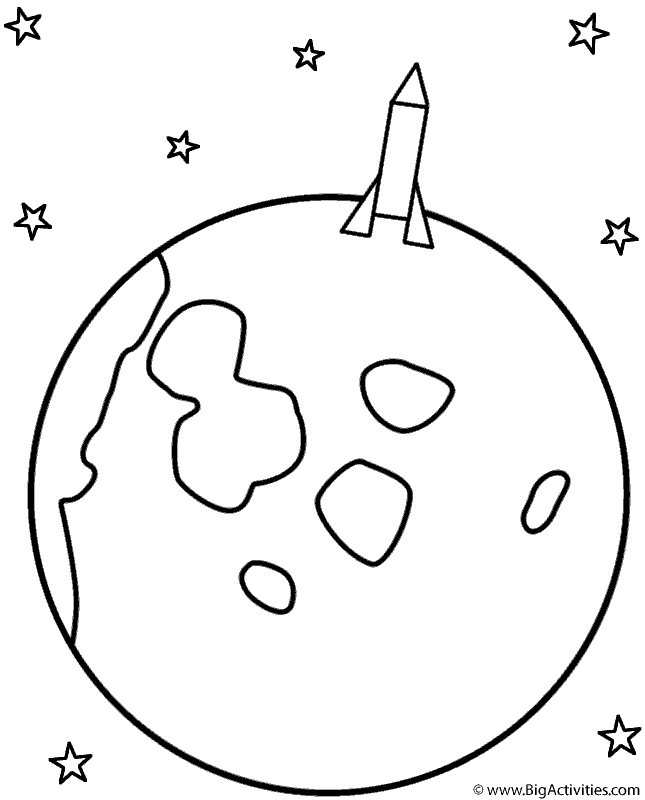 rocket landing on the moon coloring page space