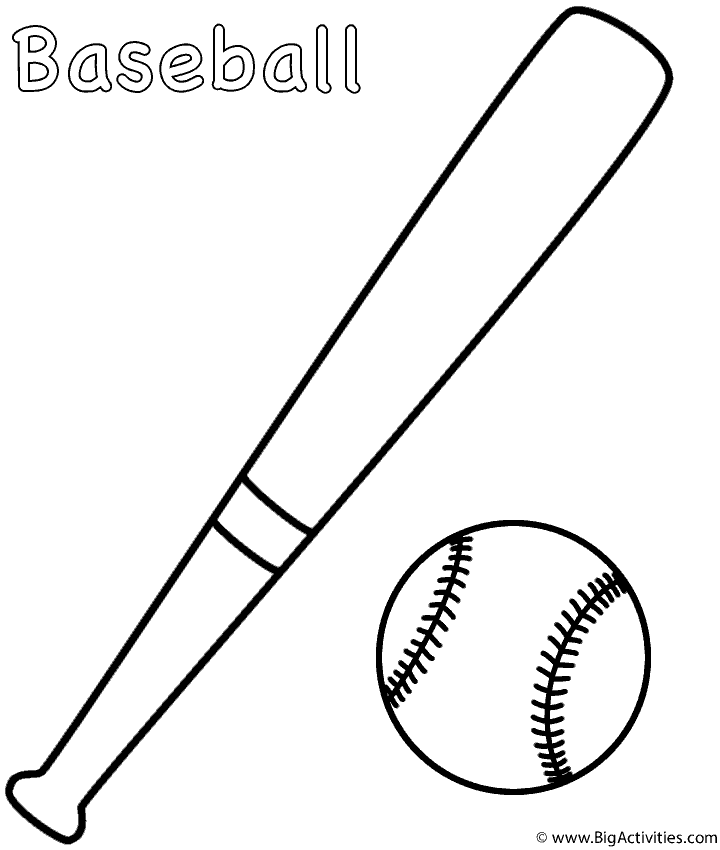 baseball bat coloring pages - photo#1