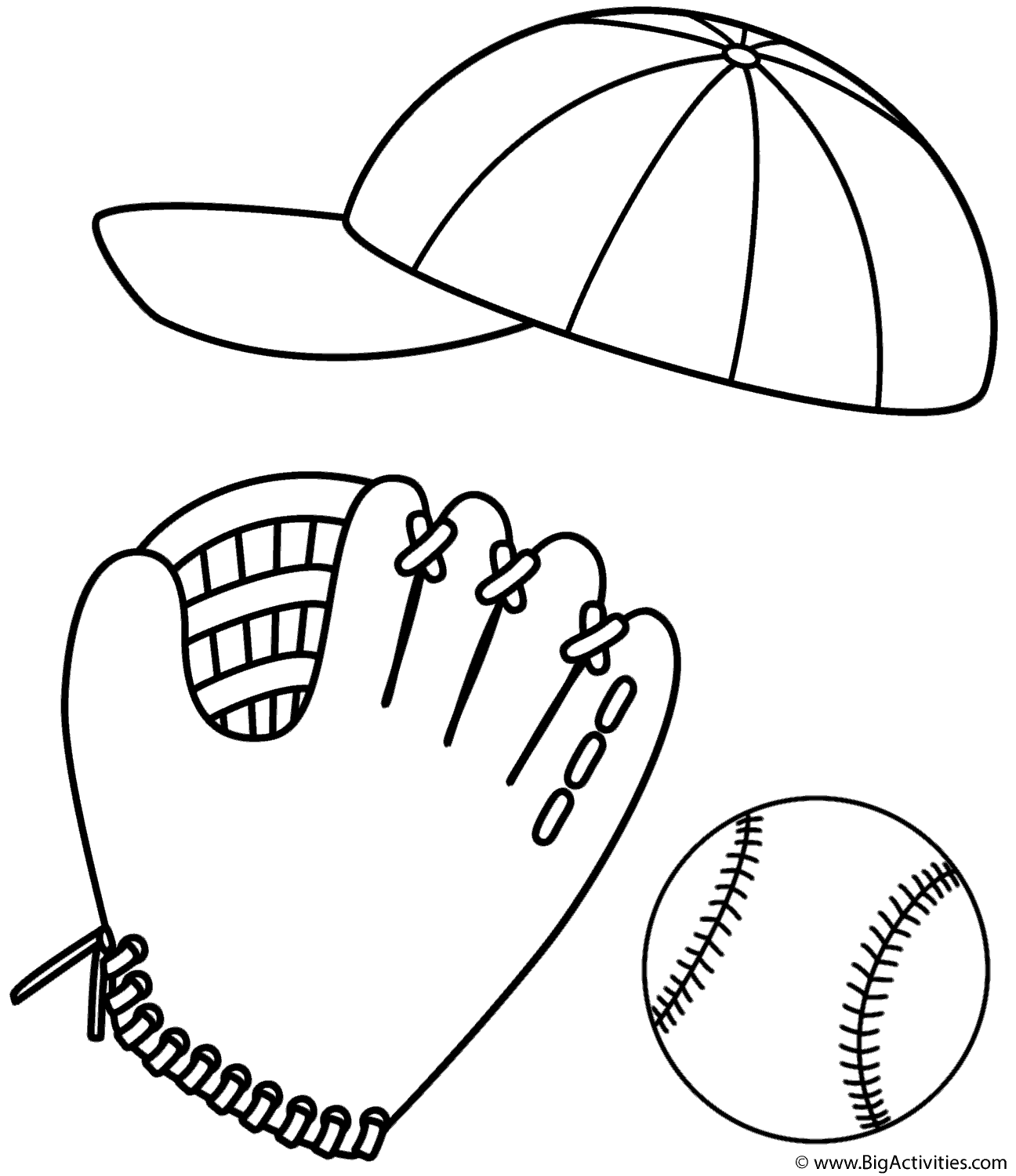 baseball cap glove and ball coloring page sports. Black Bedroom Furniture Sets. Home Design Ideas