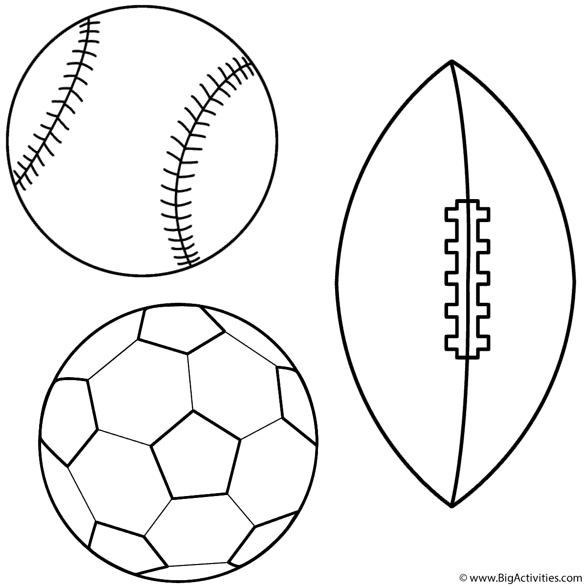Coloring Pages Sports : Baseball soccer ball and football coloring page sports