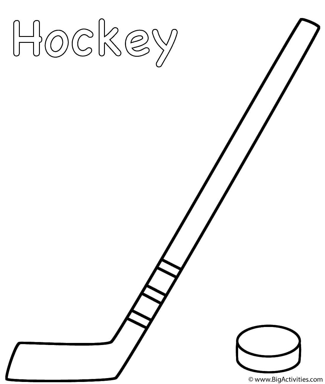 hockey stick with puck coloring page sports