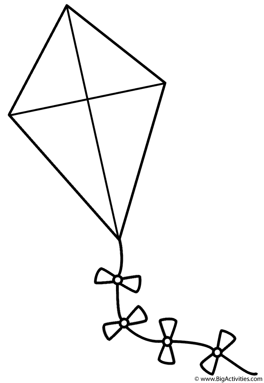 Kite With Bows Coloring Page Spring
