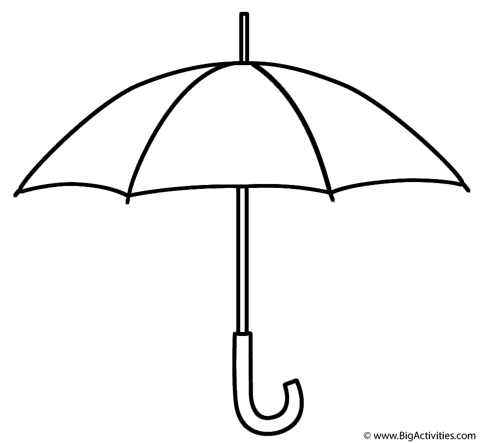umbrella coloring page spring