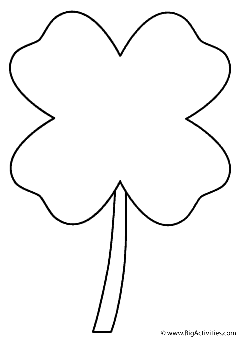 Four Leaf Clover - Coloring Page (St. Patrick's Day)