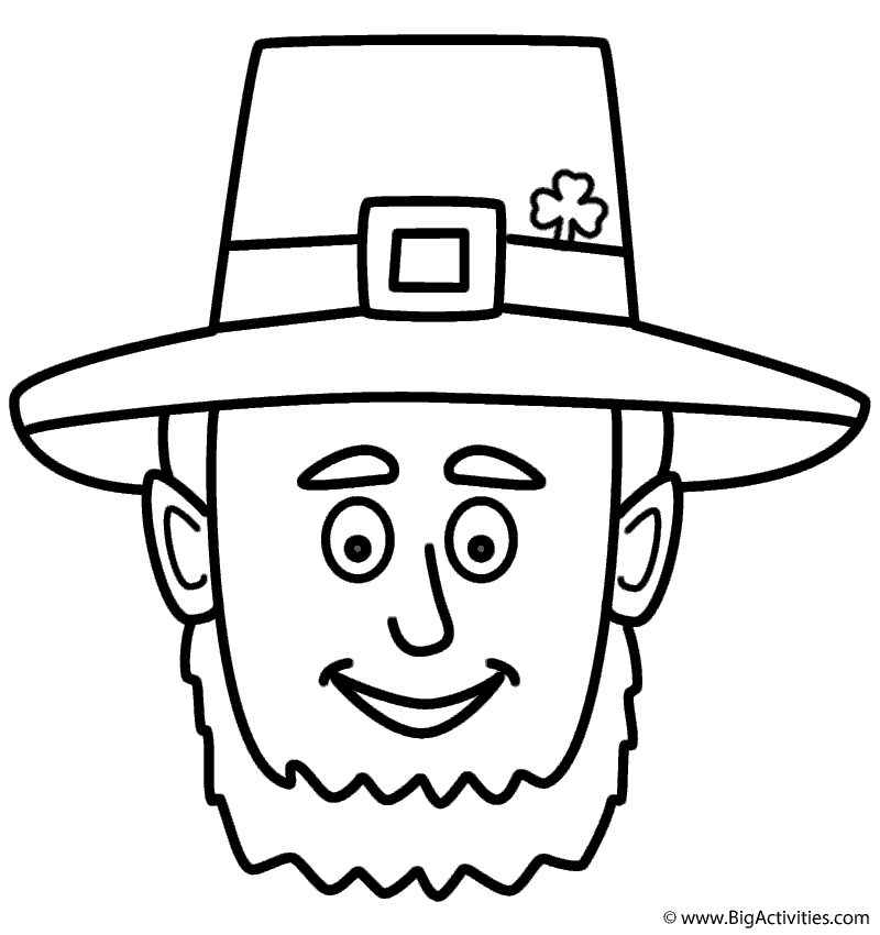 leprechaun face coloring page st patrick s day
