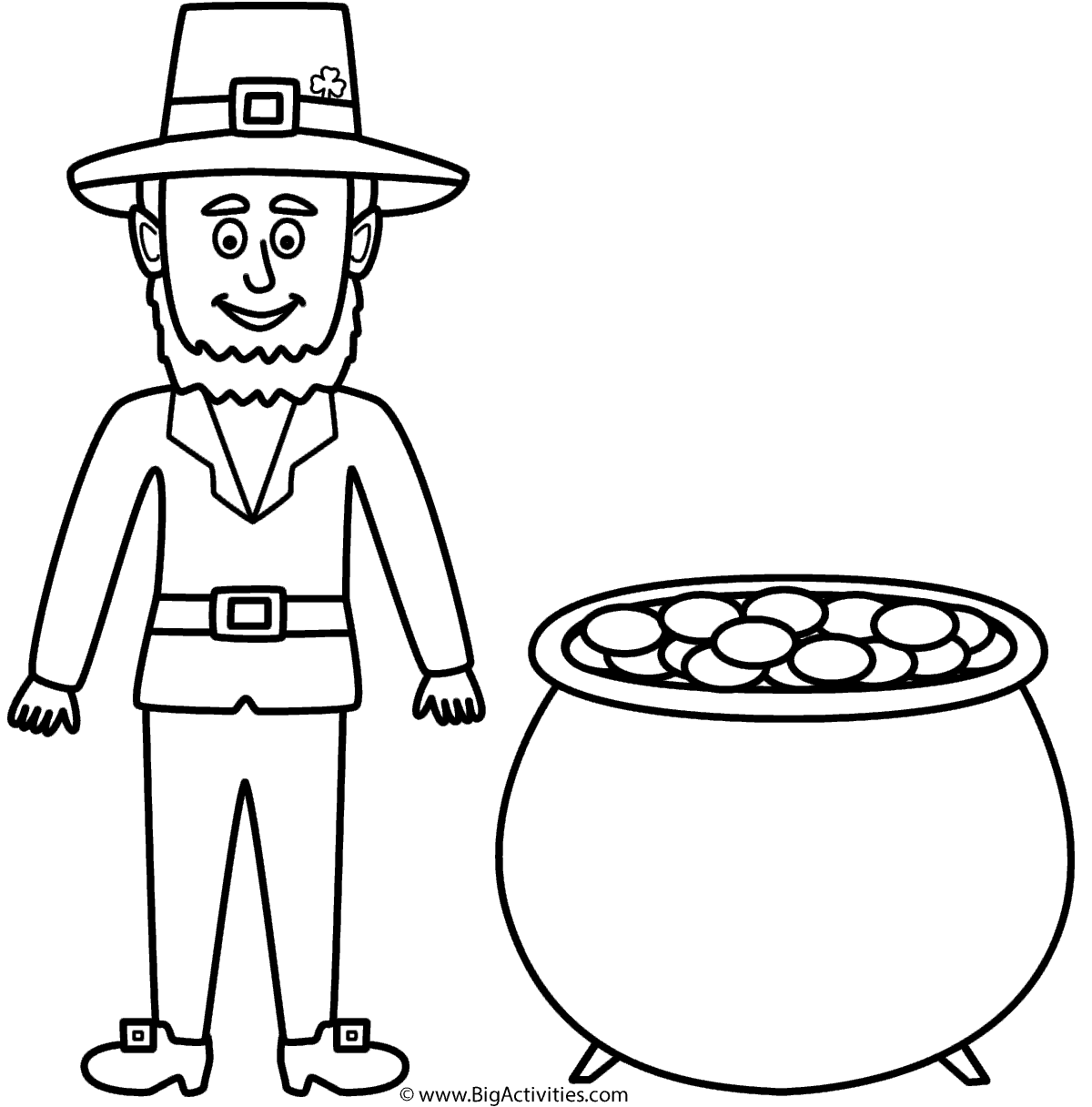 Leprechaun with pot of gold - Coloring Page (St. Patrick\'s Day)