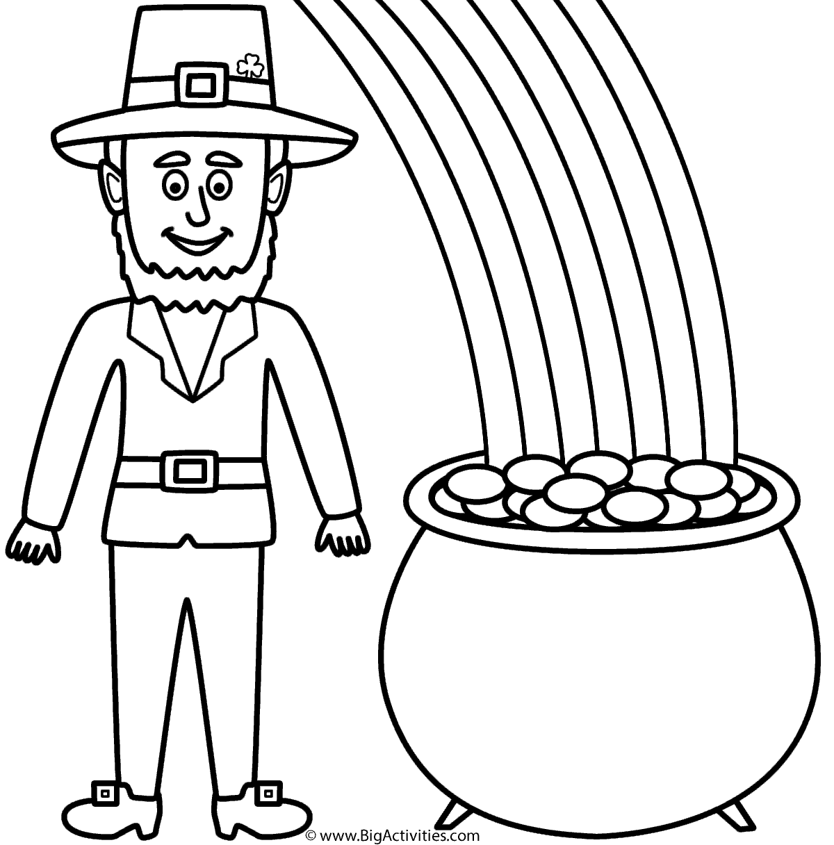 leprechaun with pot of gold and rainbow coloring page st patricks day - Coloring Pages Rainbow Pot Gold