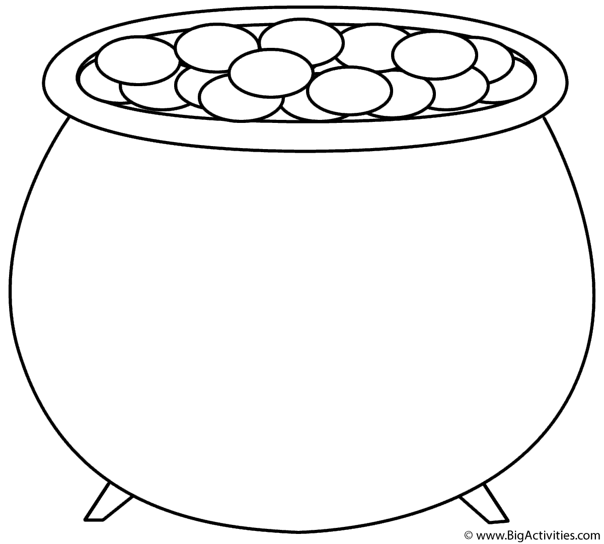 Pot of Gold Coloring Page St Patricks Day
