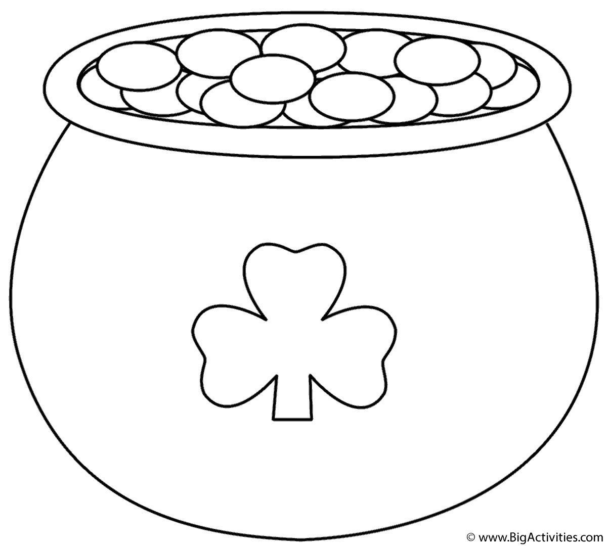 pot of gold with shamrock coloring page st patricks day - Shamrock Coloring Page