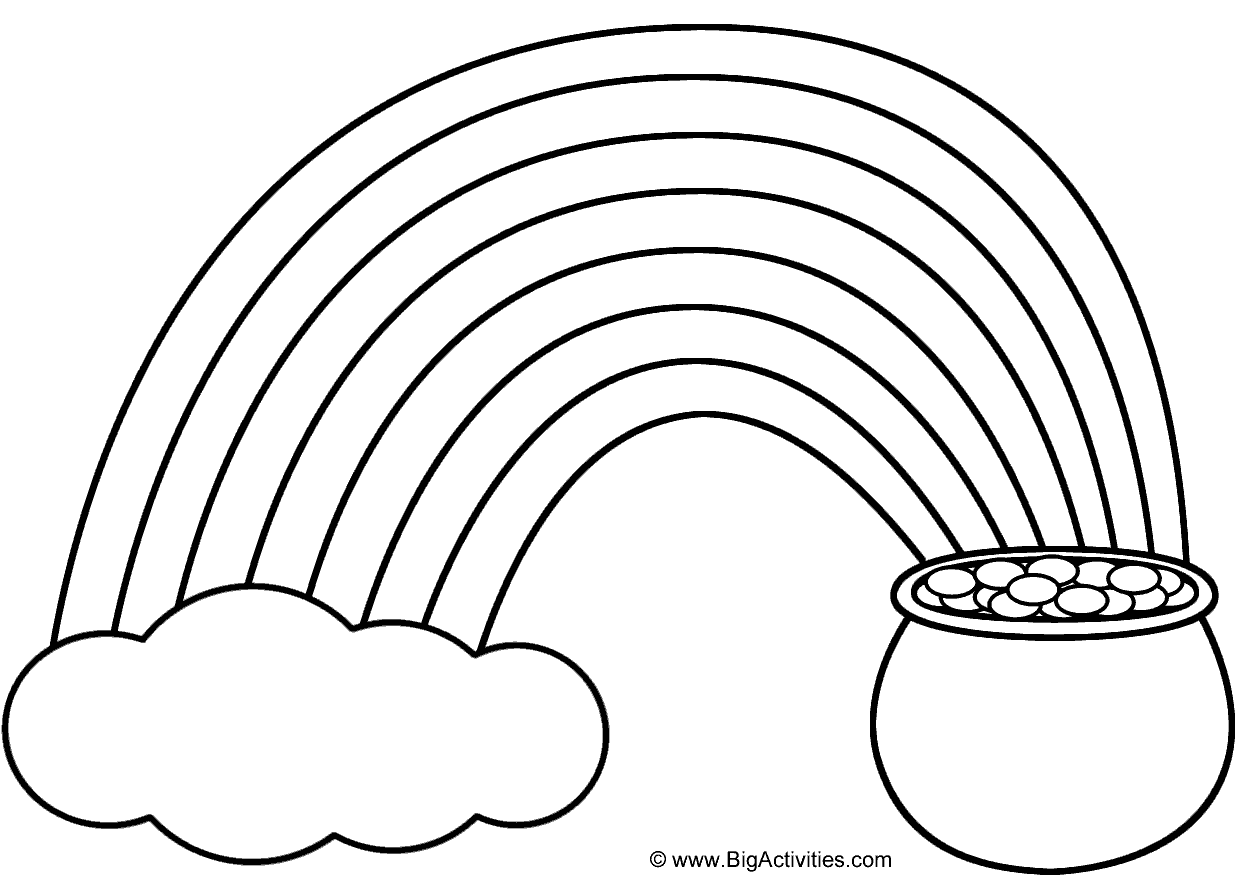 Rainbow Pot of Gold and Cloud Coloring Page St Patricks Day