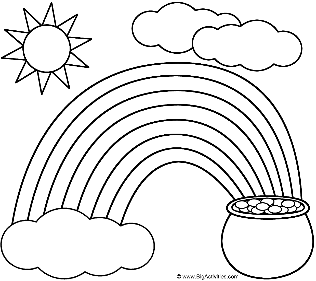 rainbow pot of gold sun and clouds coloring page st