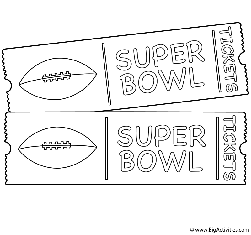 Super bowl game tickets coloring page super bowl
