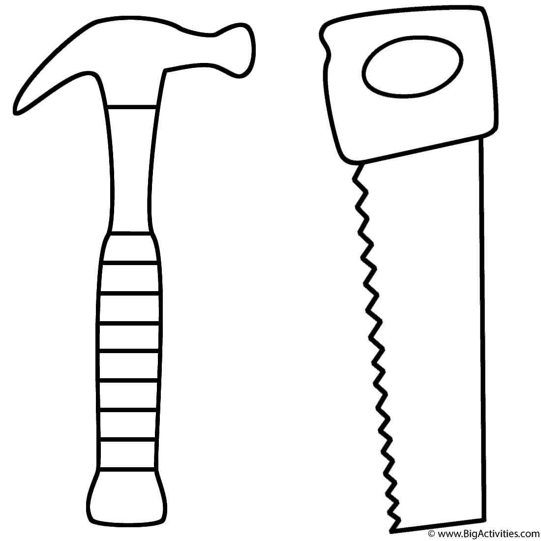 Hammer And Saw Coloring Page Tools