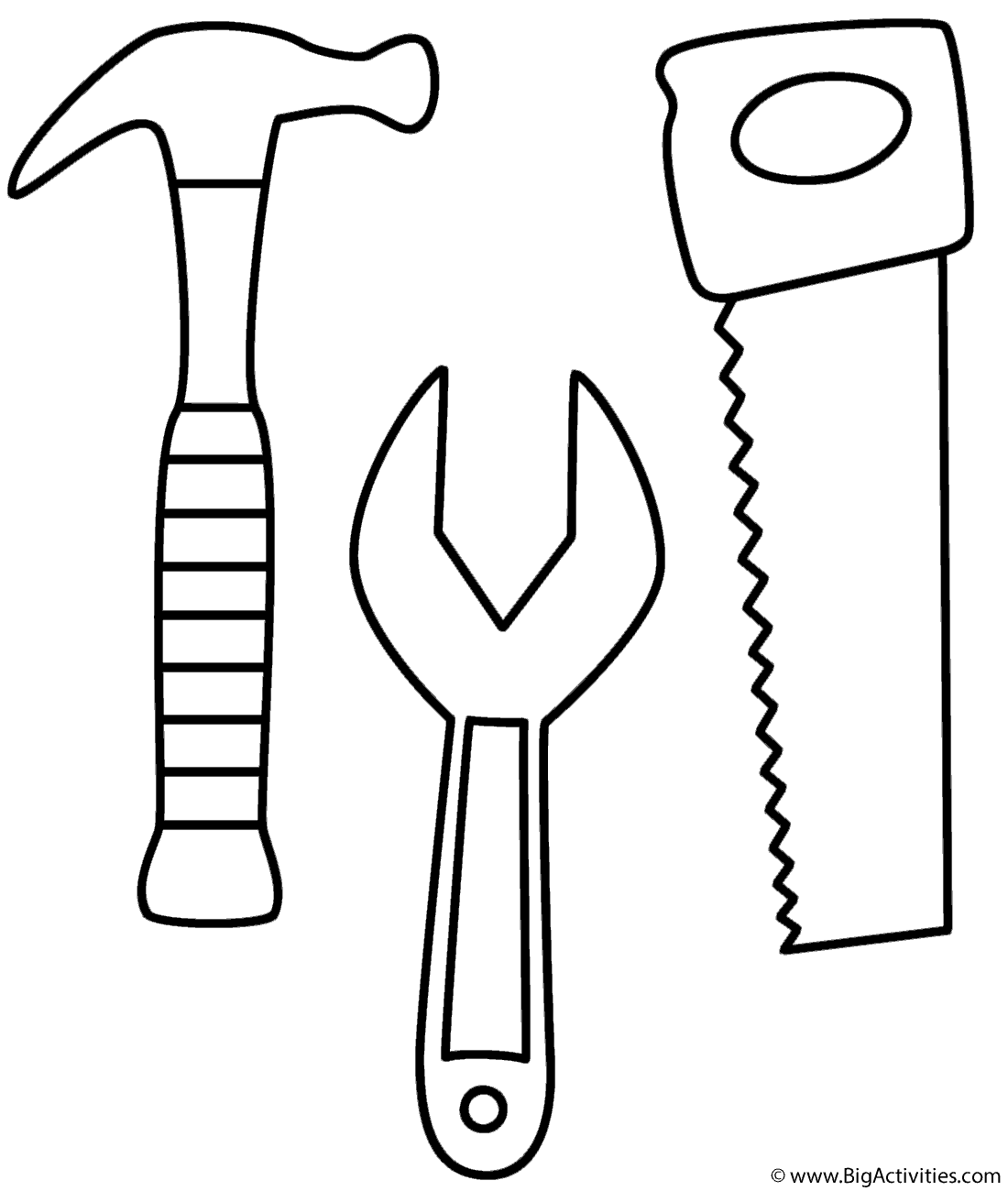 Hammer, Saw and Wrench - Coloring Page (Tools)
