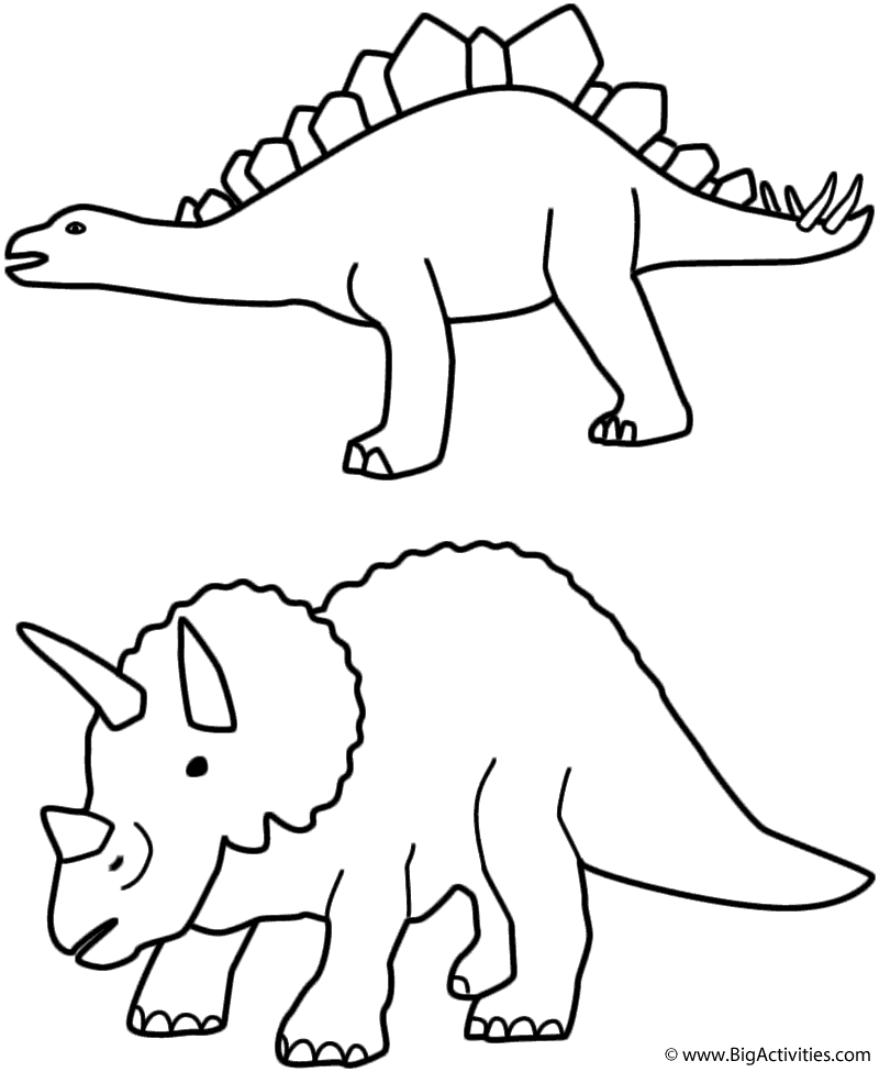 Stegosaurus and triceratops coloring page valentines day