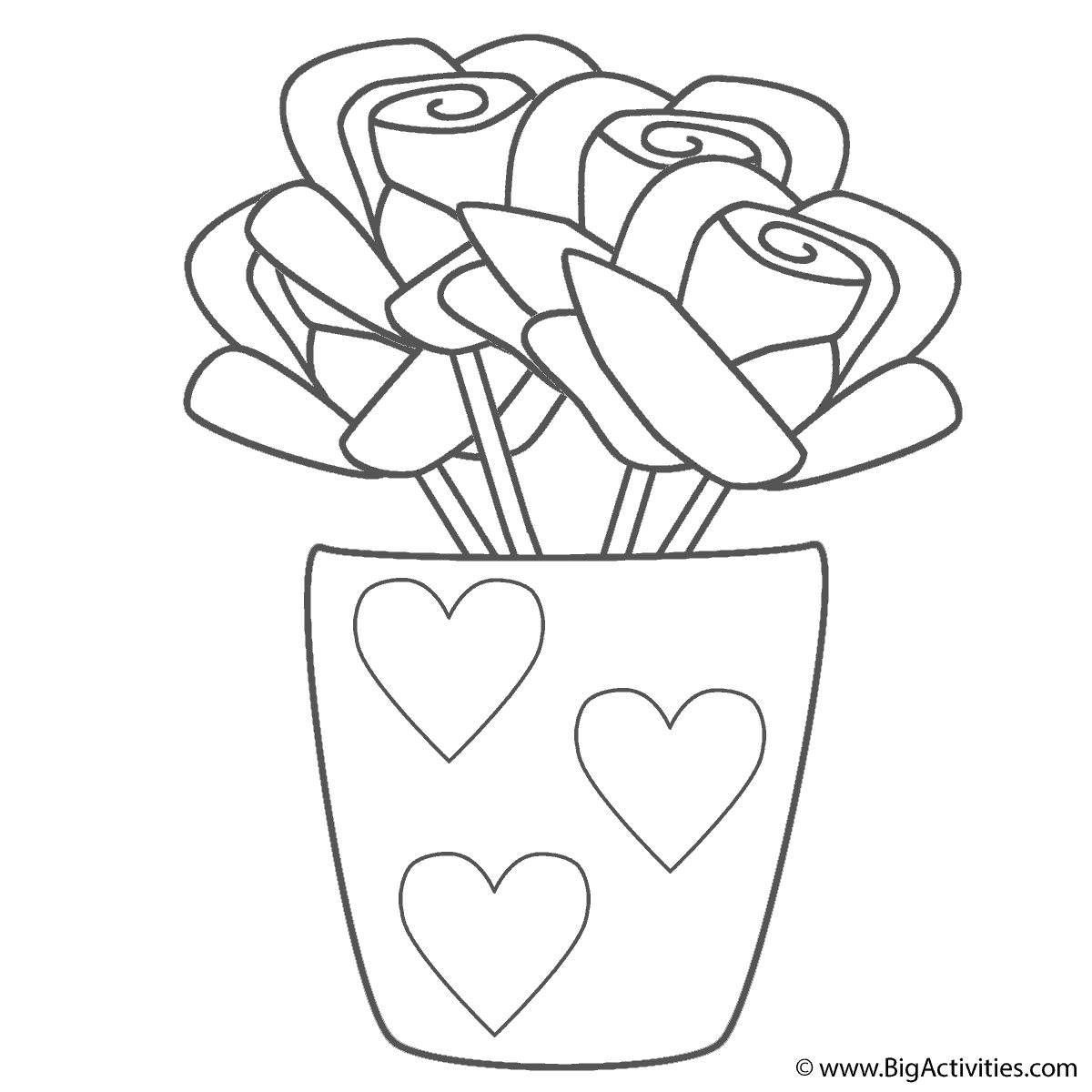 Roses in Vase with Hearts Coloring Page Valentines Day