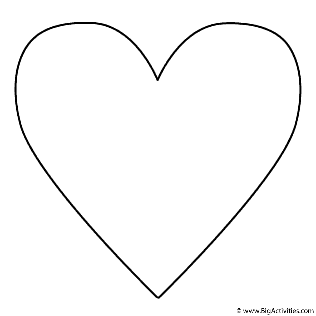 Simple Heart Coloring Page Valentines Day