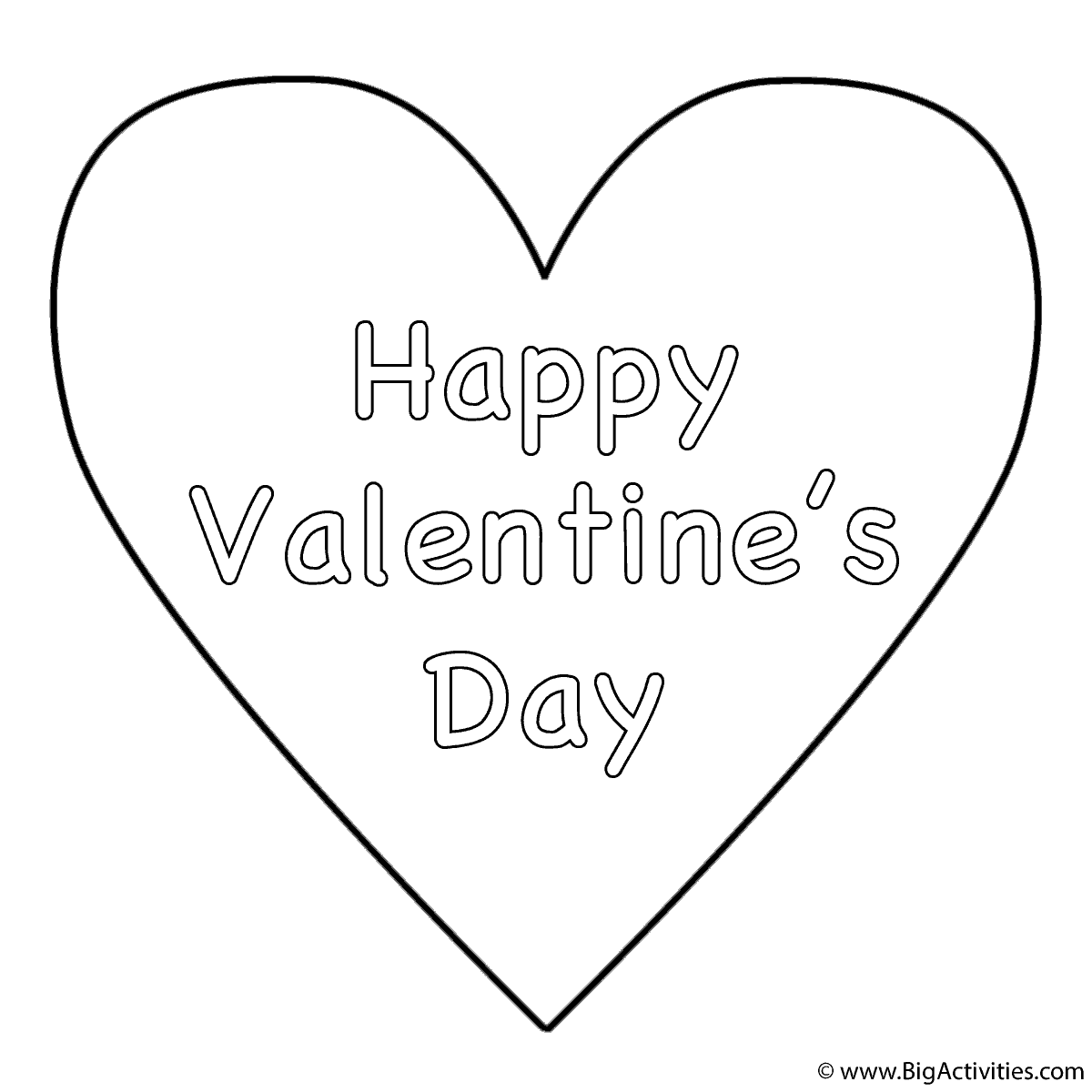 Simple Heart Happy Valentines Day Coloring Page Valentines Day