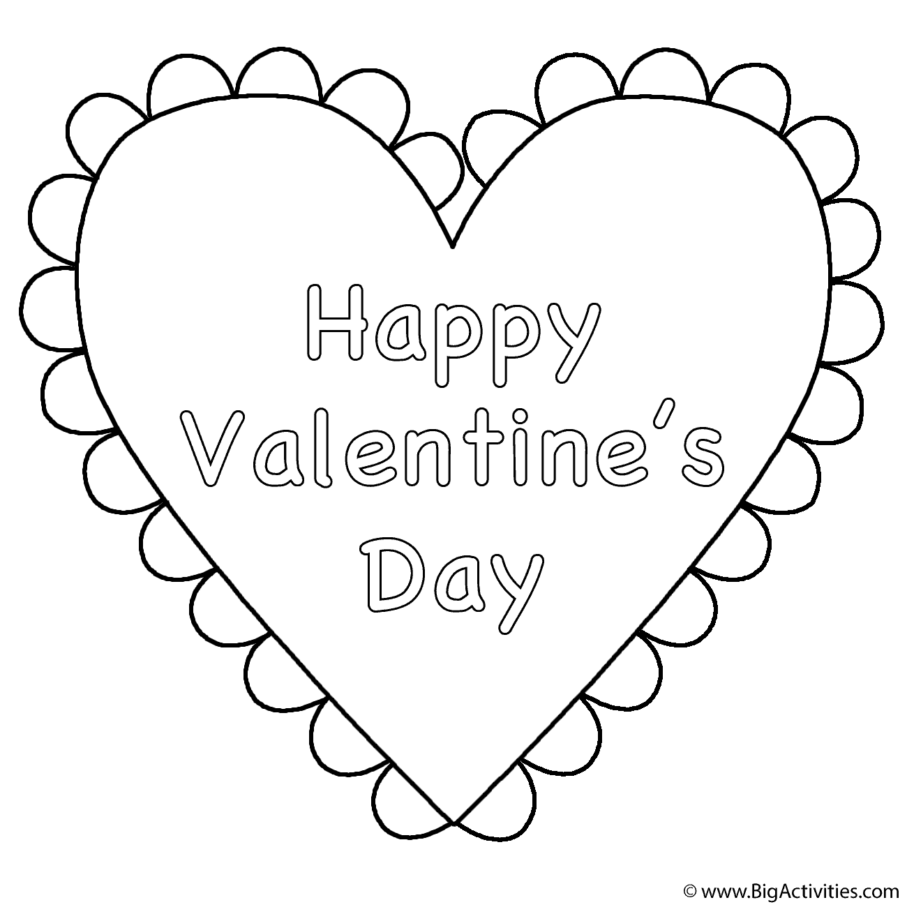 heart happy valentines day coloring page valentines day