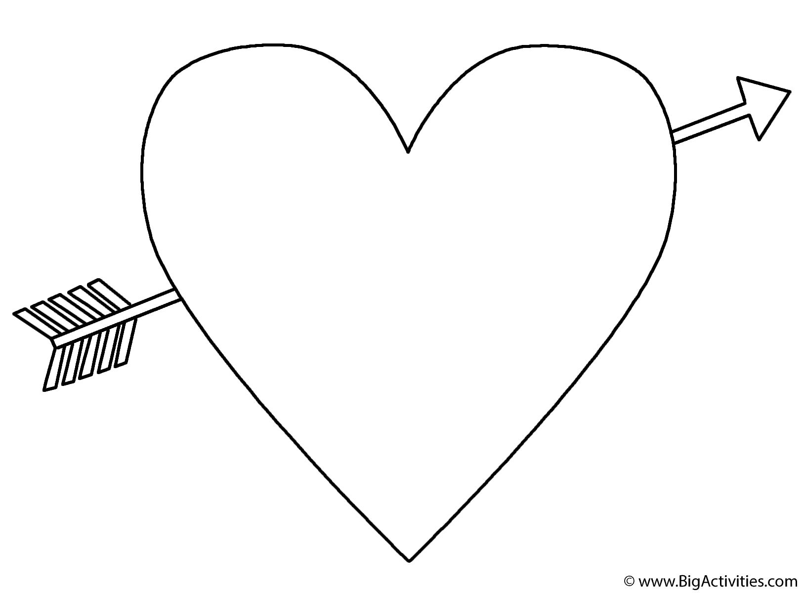 Heart with an Arrow Coloring Page Valentines Day