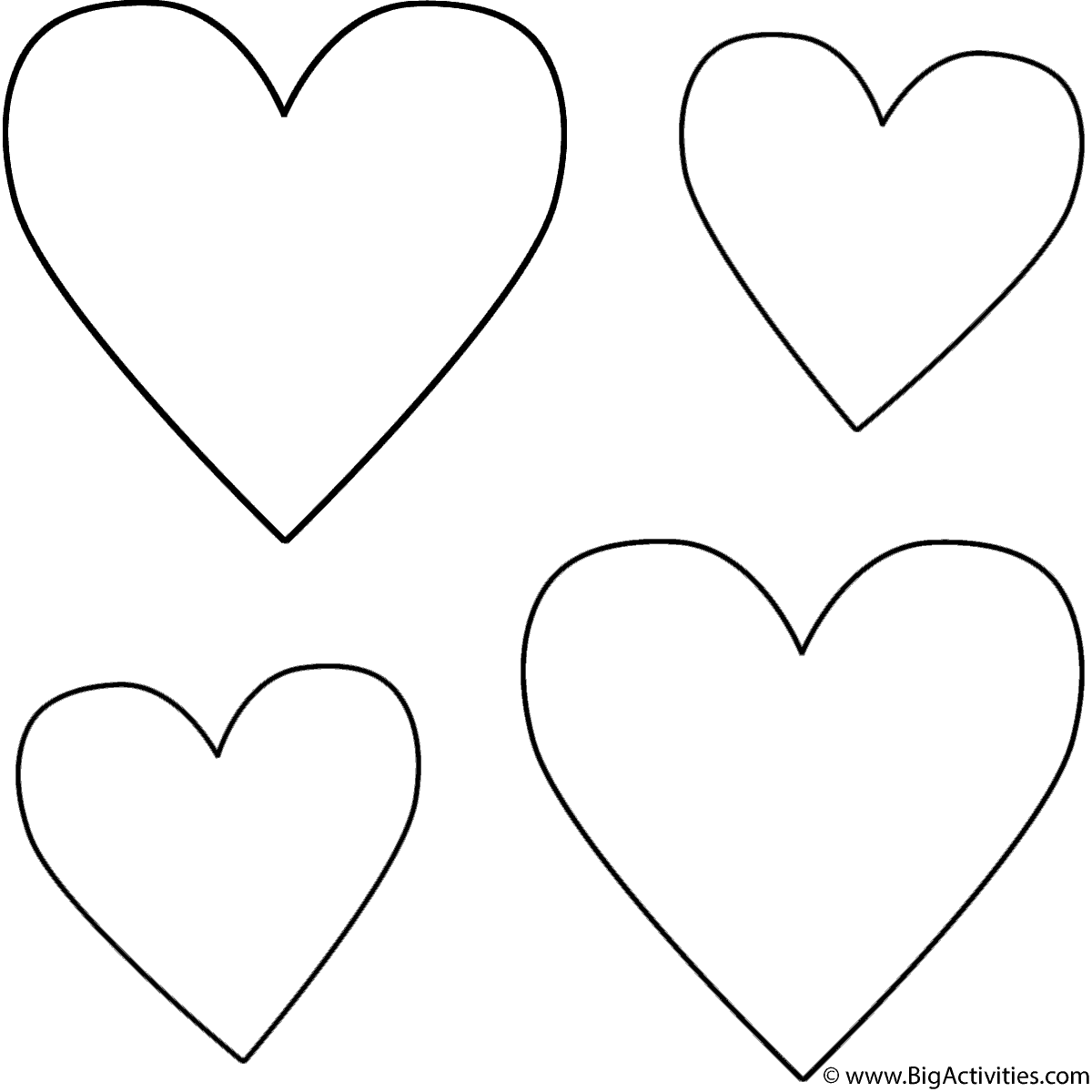 four hearts coloring page valentine u0027s day