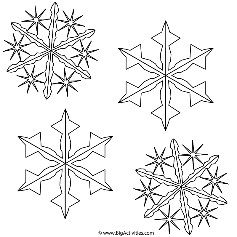 Snowflakes Coloring Page Winter