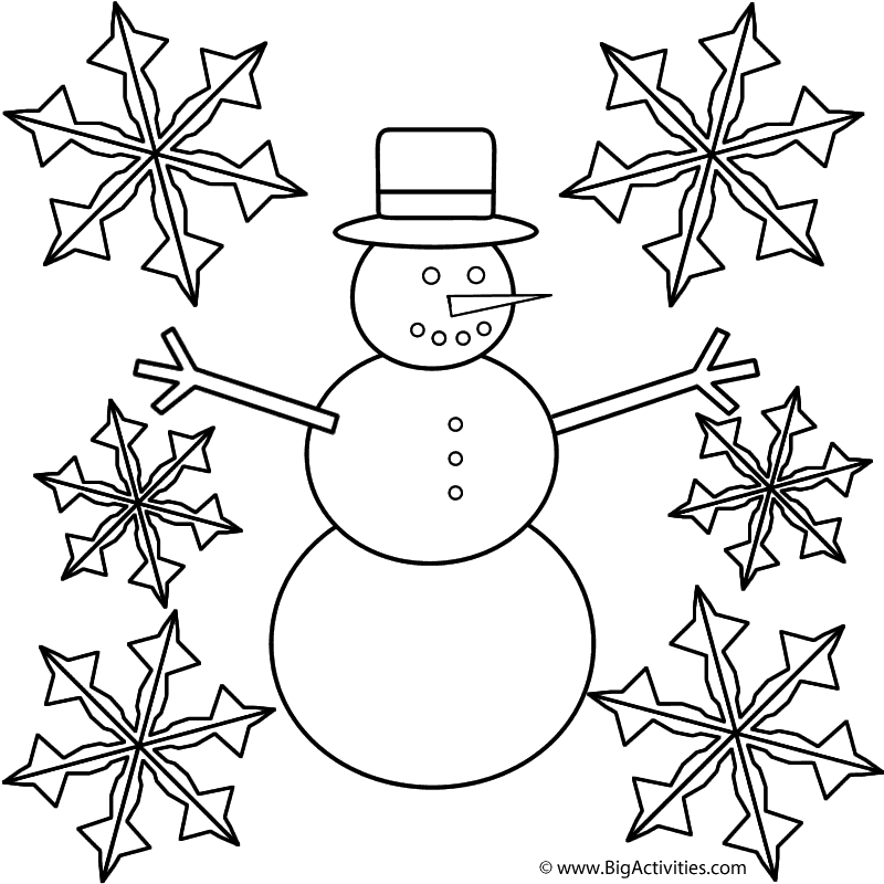 snowman with snowflakes coloring page winter - Snowflake Coloring Page