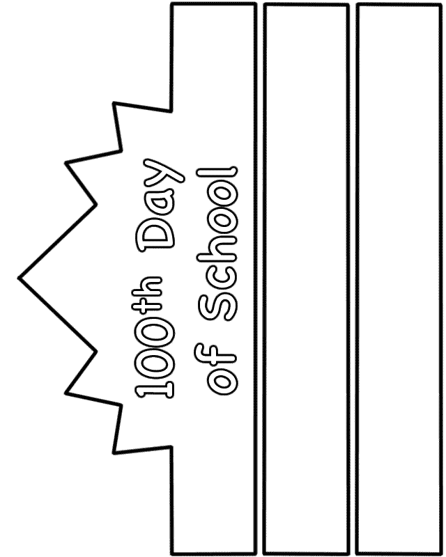 100th day of school crown template - 100th day of school hat paper craft black and white
