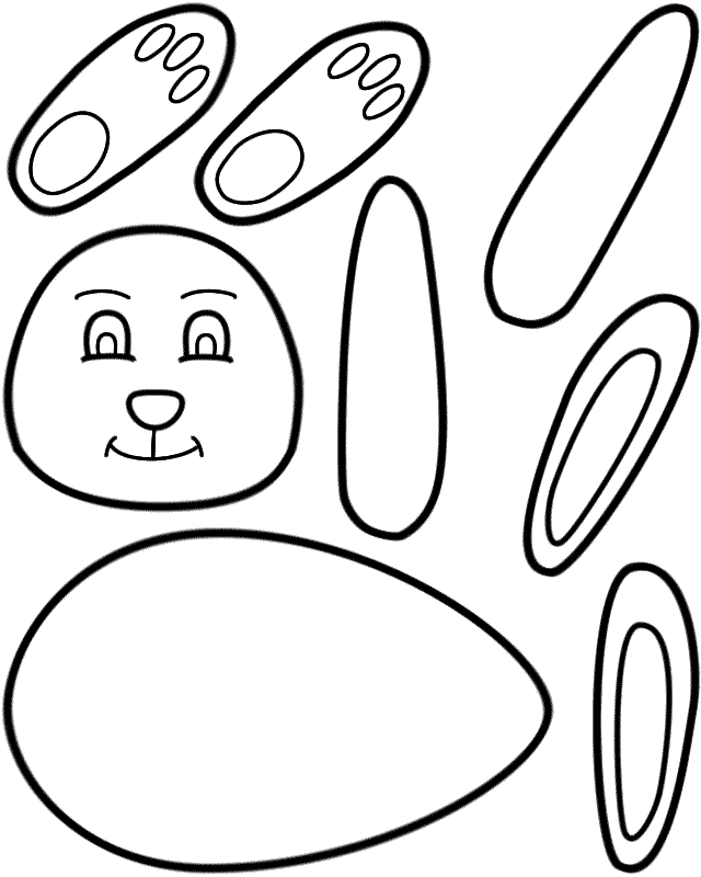 easter bunny paper craft black and white template