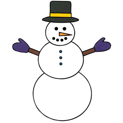 Snowman with Snowflakes - Coloring Page (Winter)