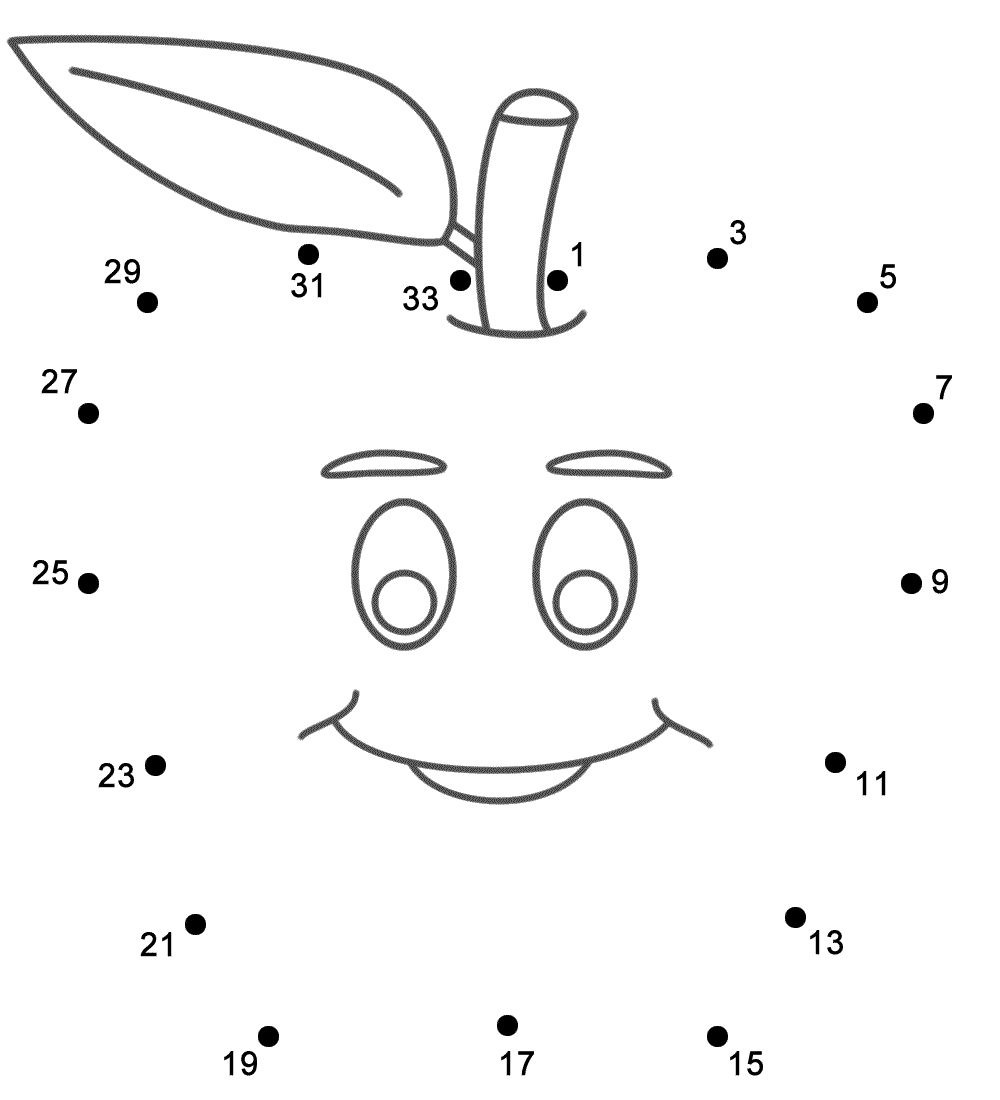 apple with smiley face connect the dots count by 2 u0027s starting
