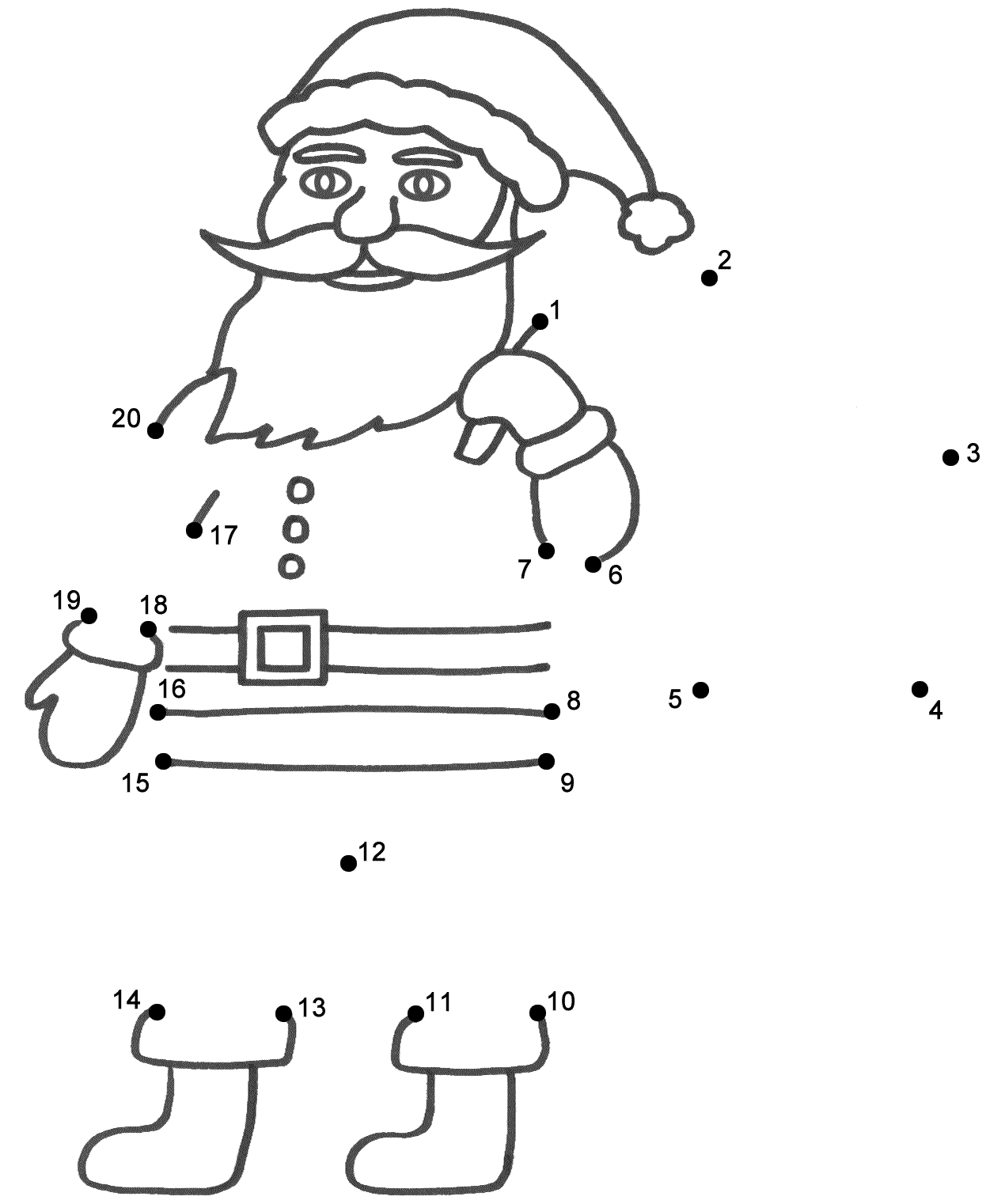 santa claus connect the dots count by 1 u0027s christmas