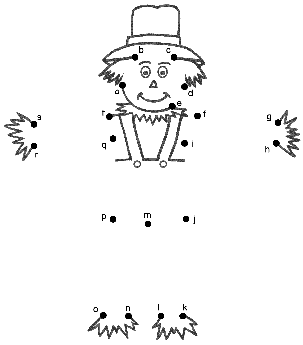 Scarecrow Connect the Dots by Lowercase Letters Thanksgiving – Math Dot to Dot Worksheets