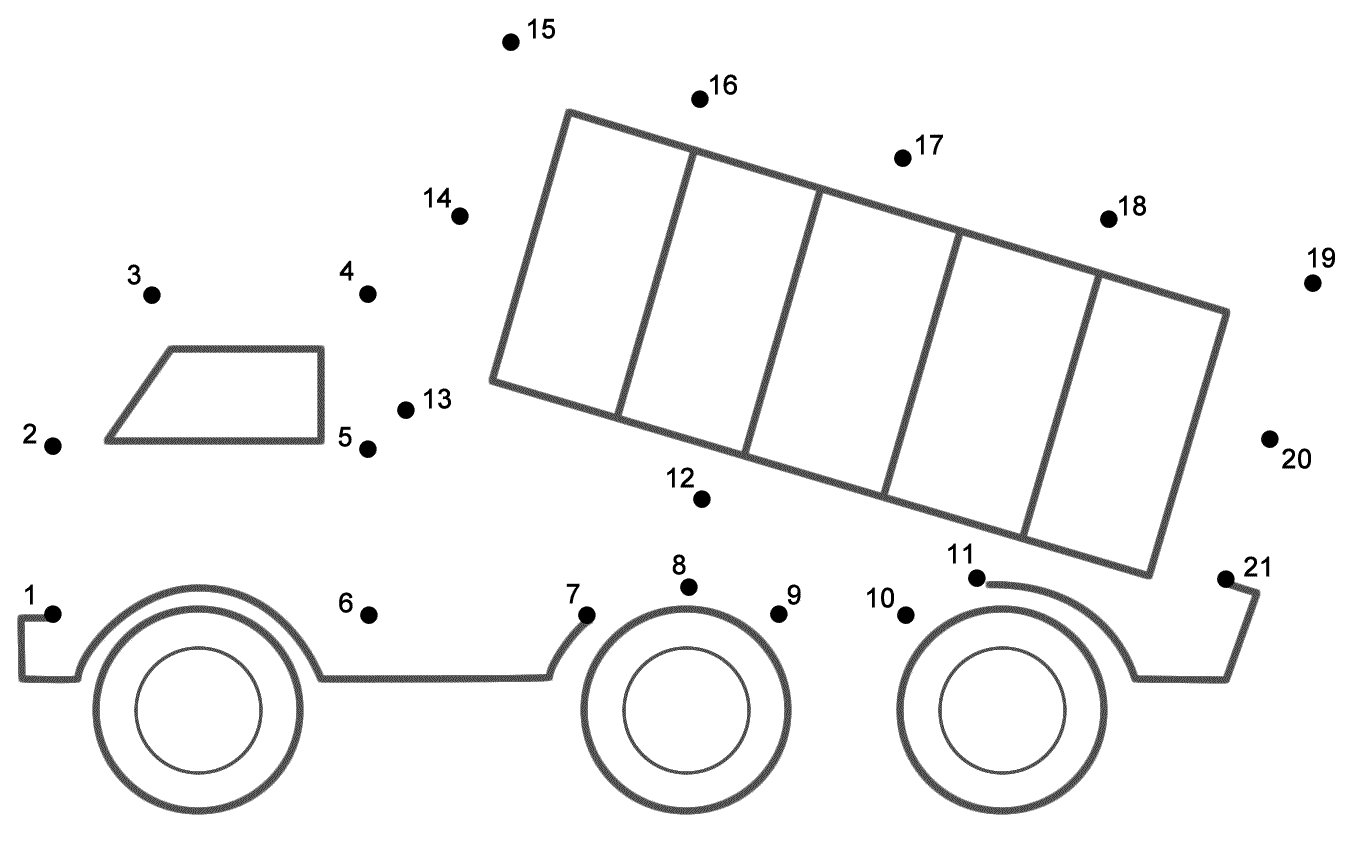 Dump Truck Connect the Dots count by 1s Transportation – Math Dot to Dot Worksheets