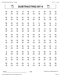 Grade 2 - Math Worksheets (Vertical Subtraction)